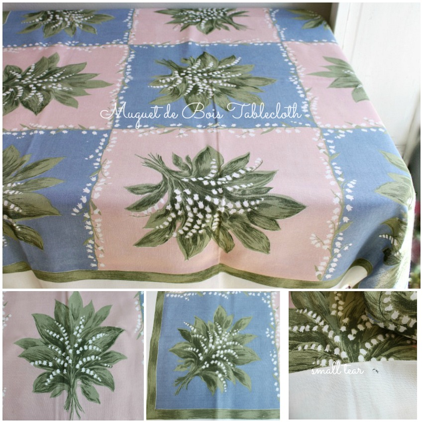 Vintage Irish Pink and Blue Muguet de Bois Tablecloth