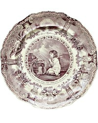 Early 19th Century Mulberry Purple Transferware Plate Devotion