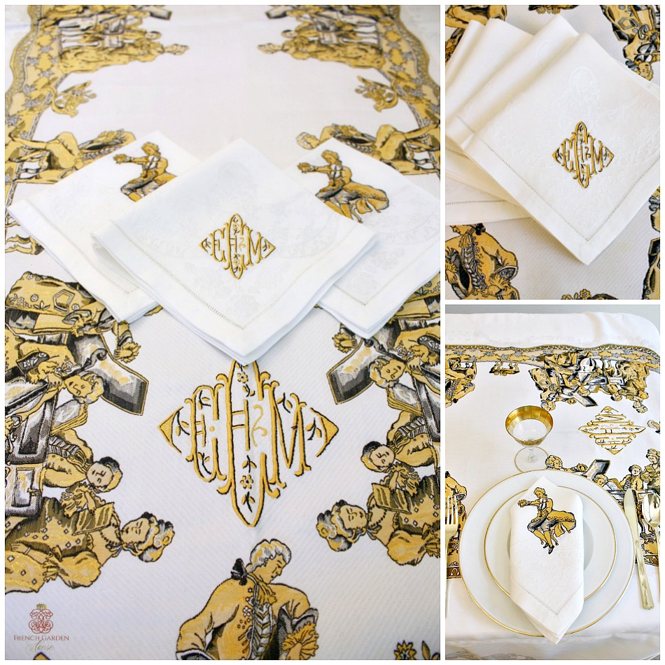Exceptional Musical Players Damask Golden Yellow Tablecloth and 12 Napkin Set