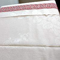 Antique French Red & White Fringed Linen Damask Tablecloth