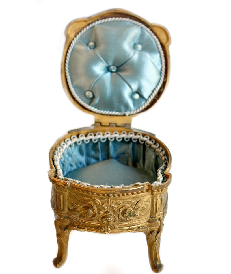 Antique French Gilt Ormolu Jewelry Casket Louis XI