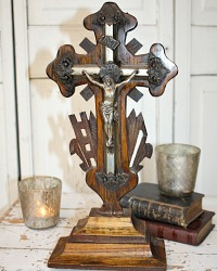 19th Century French Napoleon III Hand Carved Wood Cross Crucifix