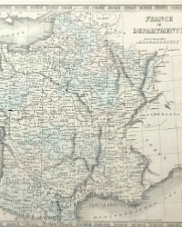 Antique Hand Colored Map of France 1852