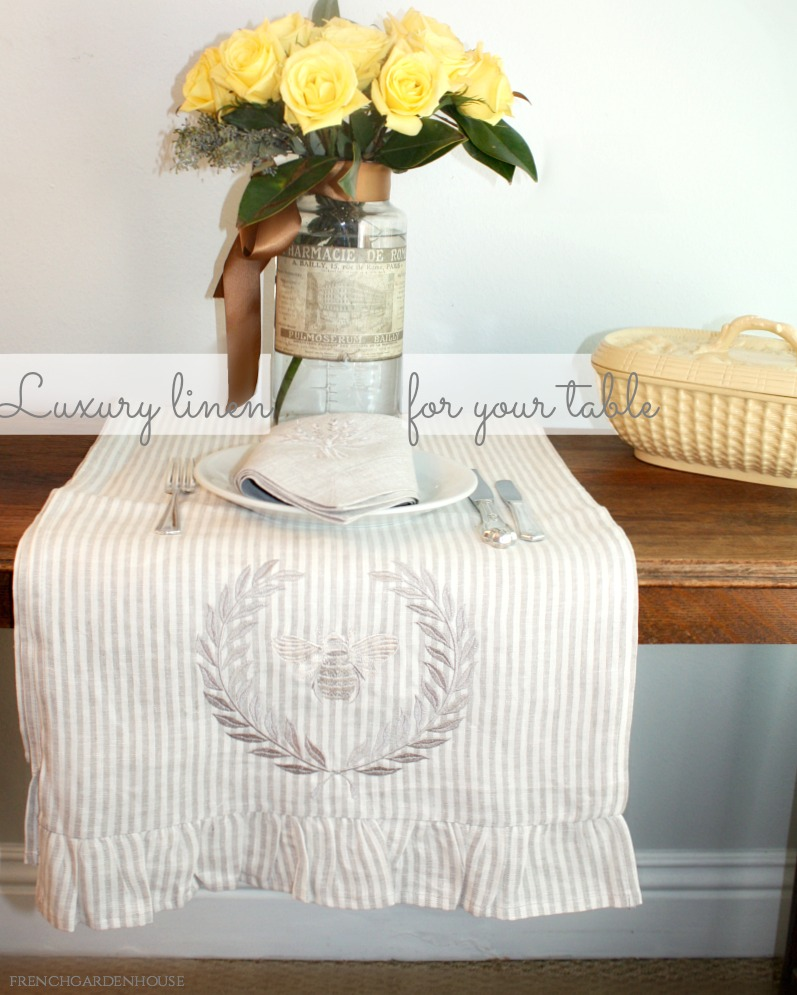 European Striped Linen Bee Runner