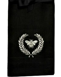 Luxurious Linen Towel Napoleonic Bee Black