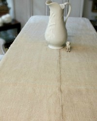 19th Century Organic French Country Hand Woven Linen Tablecloth Natural