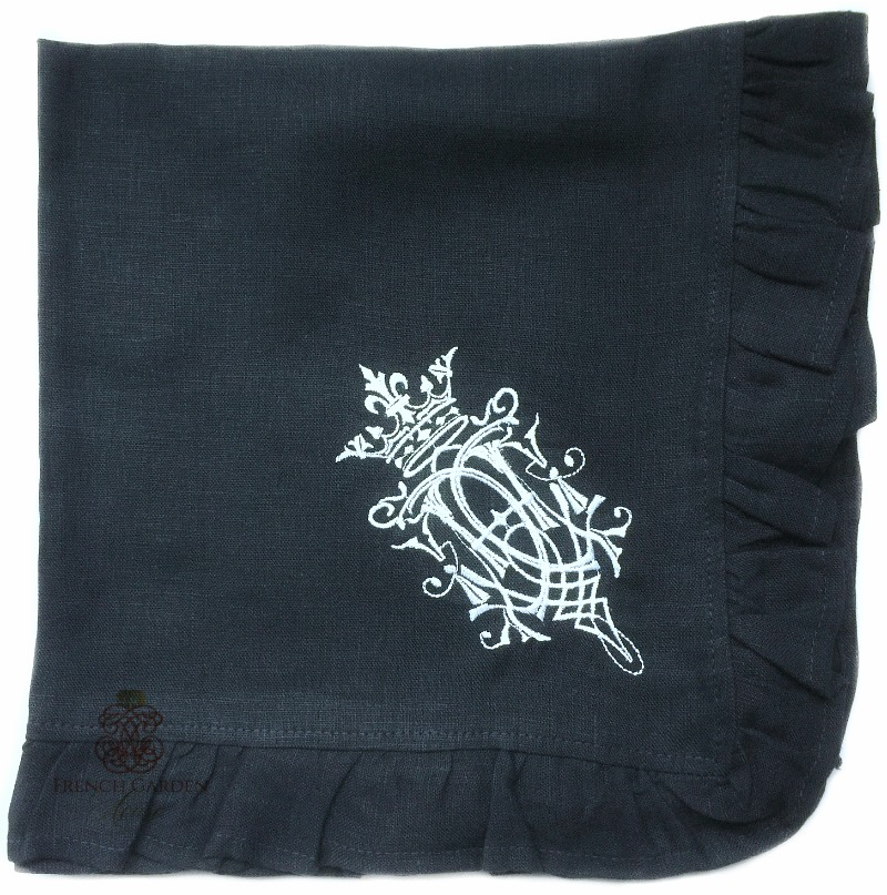 Luxurious Organic Linen Royal Crest Ruffled Napkin Navy Blue Set of 4