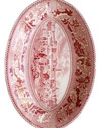 Vintage Red Transferware Historic America Shallow Bowl