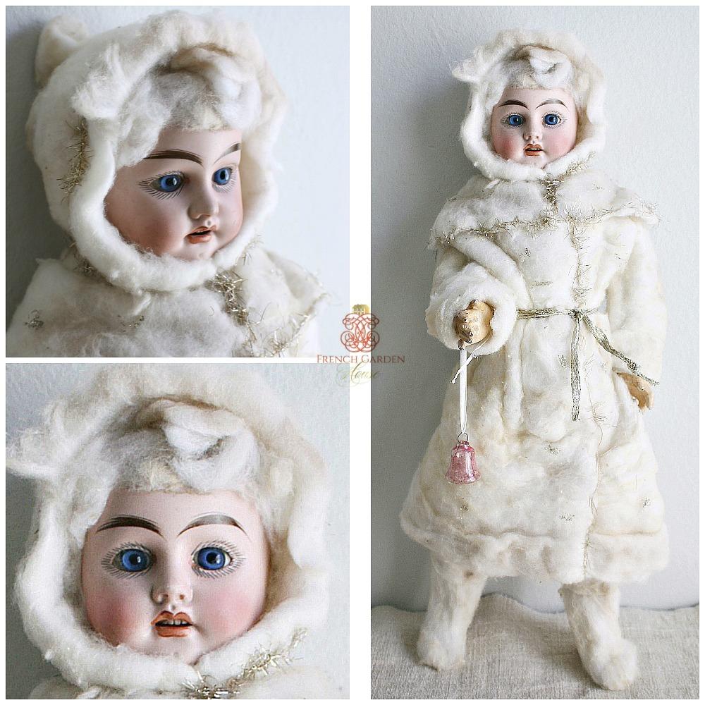 Rare Antique All Original French Porcelain Winter Doll
