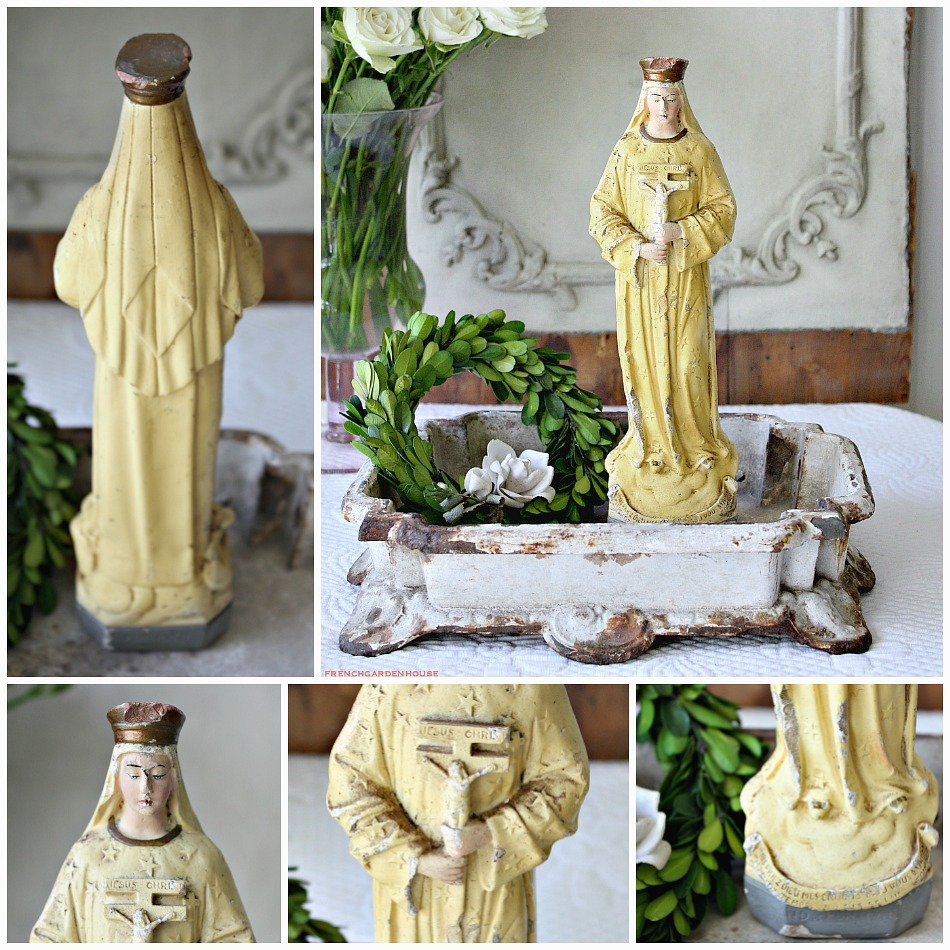 Antique French Hand Painted Virgin Mary Pontmain