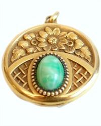 Keepsake Floral Gold Filled Locket Green Stone