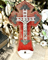 Antique French Benitier Holy Water Font Red Velvet Napoleon III Small