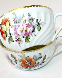 Nymphenburg Hand Painted Floral Teacups & Saucers Set of 6