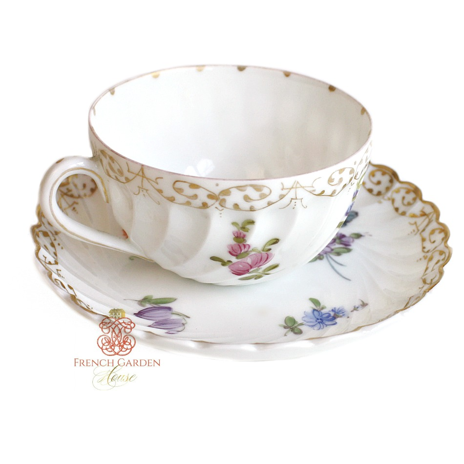 Antique Nymphenburg Demitasse Cup & Saucer Set