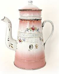 Antique 19th Century French Enamelware Pink Floral Garland Biggin Cafetiere