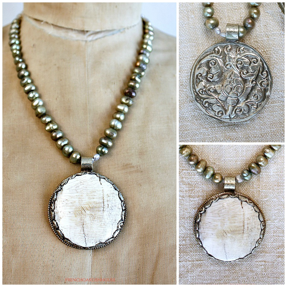 Natural Petrified Shell Ocean Meadow Pendant Necklace