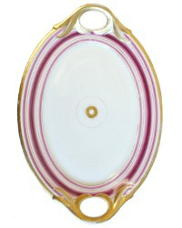 Antique Old Paris Porcelain White and Cerise Pink Serving Tray