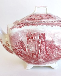 1930 Vintage Red Transferware Old British Castles Teapot