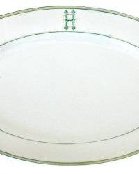 Estate Pillivuyt Serving Platter Green Aqua Monogram