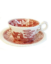 Vintage Pink Transferware Copeland Spode Tower Tea Cup