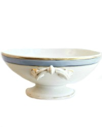 Antique Old Paris Porcelain White and Blue Compote
