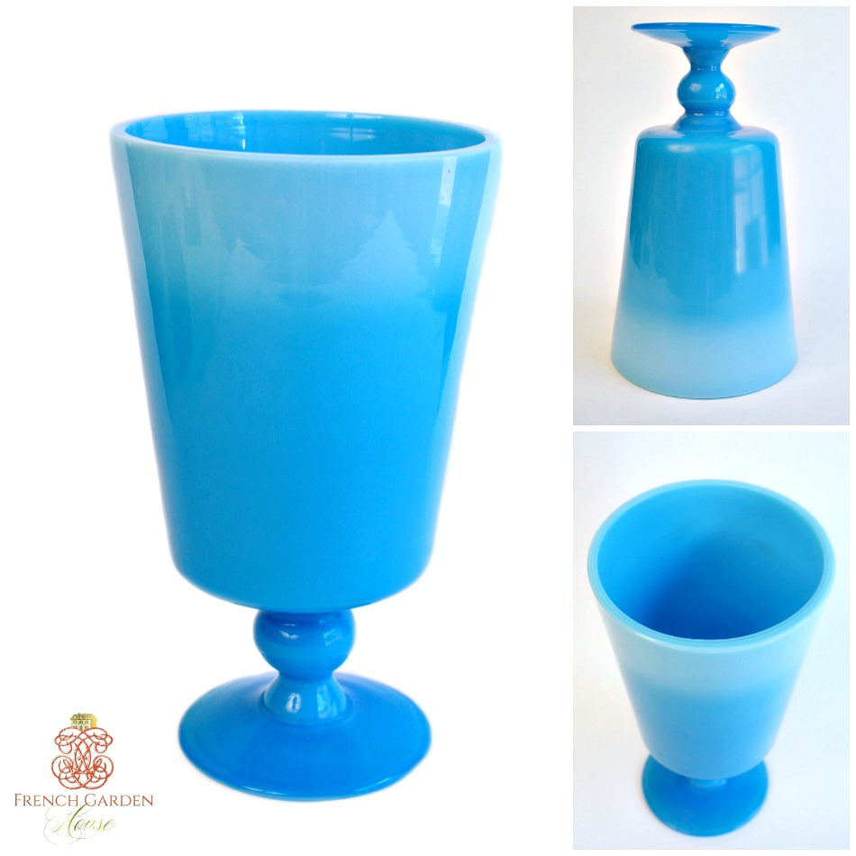 Large Rare Size Blue Opaline Hand Blown Glass Vase