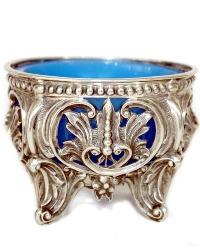 Antique French Silver Blue Opaline Pierced Open Master Salt Cellar