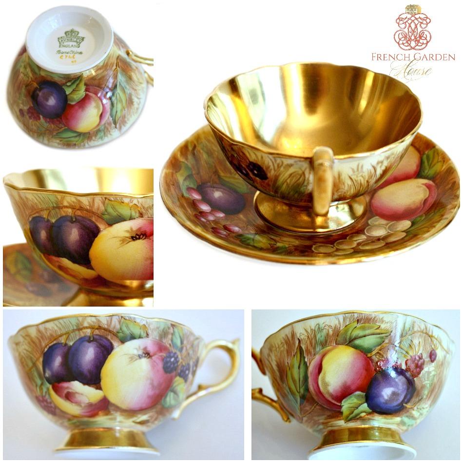 Aynsley Orchard Gold Signed Tea Cup Set Nancy Brunt