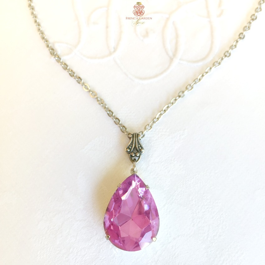 Orchid Rhinestone Teardrop Pendant Necklace