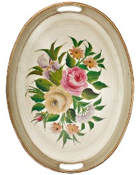 Vintage French Vanilla Oval Toleware Tray Tole Roses