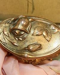 Antique 19th Century Art Nouveau Ormolu Rose Jewelry Casket