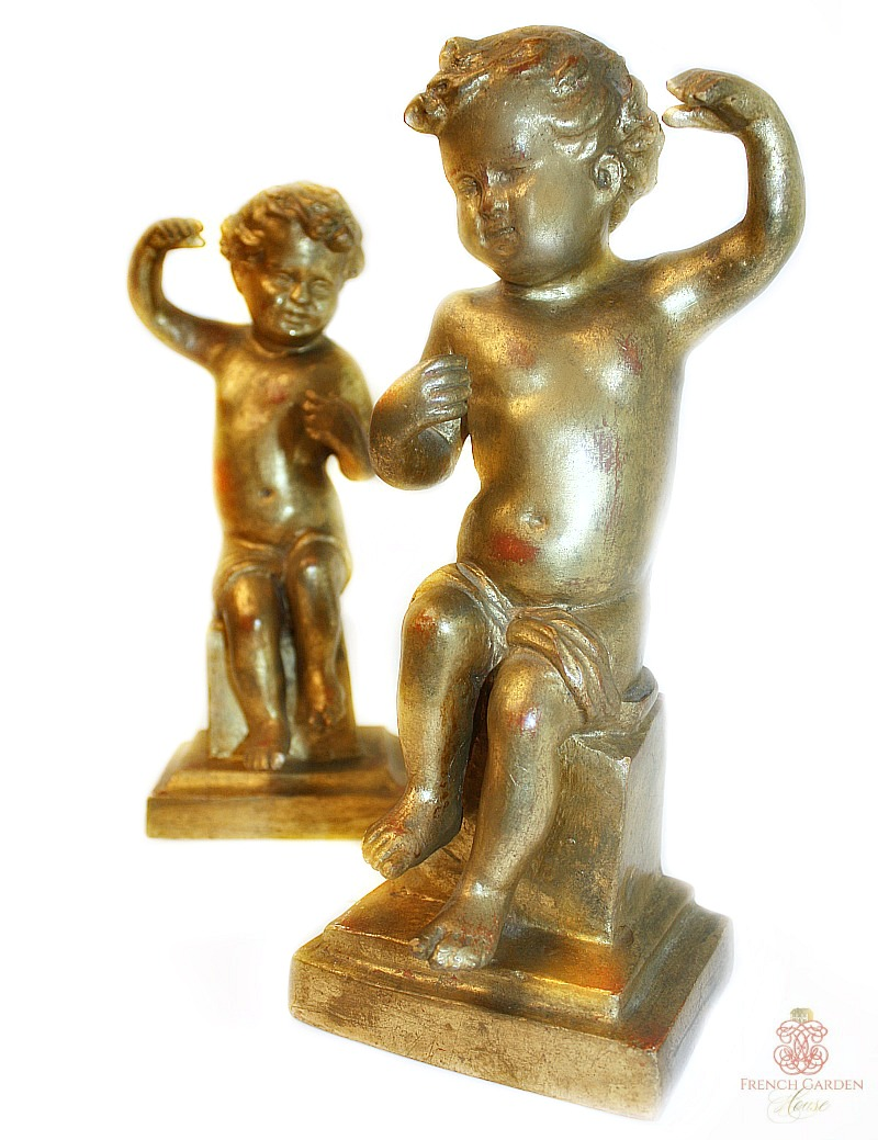 Pair of Antique Hand Carved Giltwood Italian Putti