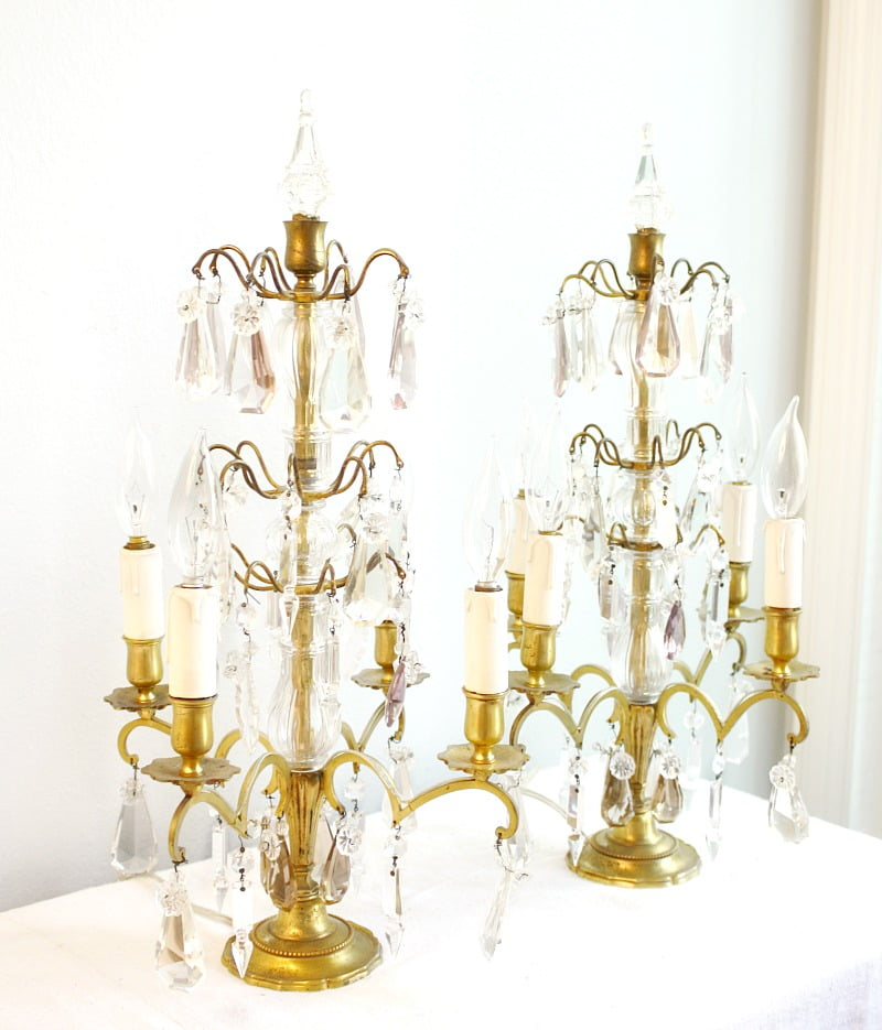 Pair French 19th Century Brass & Crystal 4-Light Candelabra Girandoles