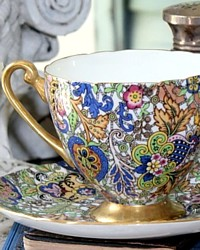 Rare Shelley Blue Paisley Chintz Pattern 14038 Tea Cup & Saucer