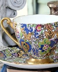 Rare Shelley Blue Paisley Chintz Pattern 14038 Tea Cup & Saucer