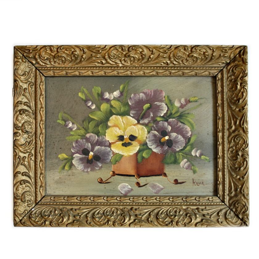 Vintage Pansies Flea Market Oil Painting Gilt Frame