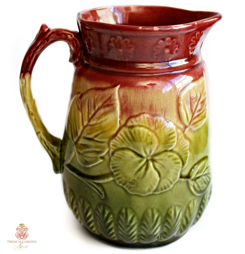 Antique Majolica Pansy Raspberry Pitcher