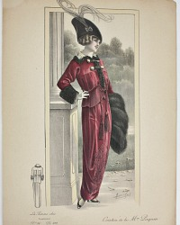 Antique French Hand Colored Fashion Print Red Creation Paquin