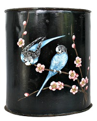 1940's French Hand Painted Floral Bird Waste Basket