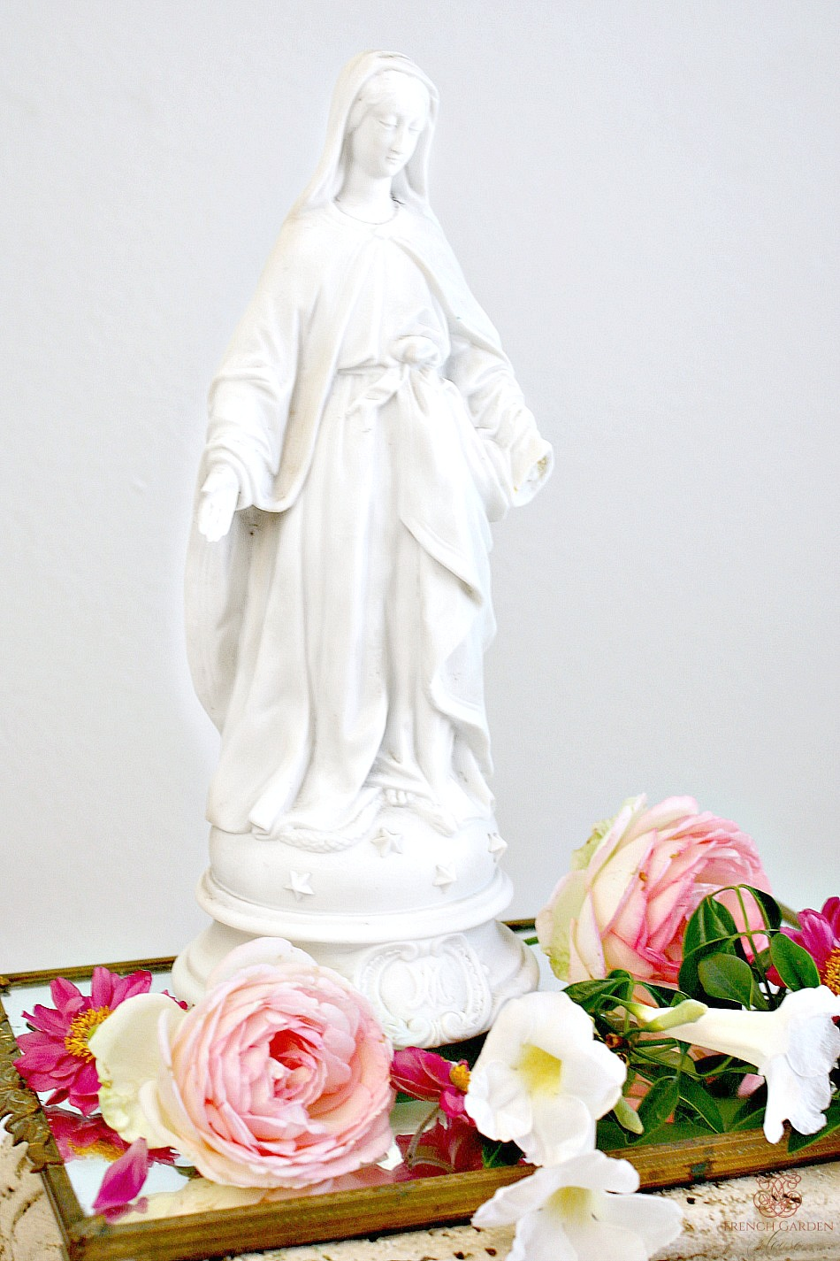 Antique French White Porcelain Madonna Medium