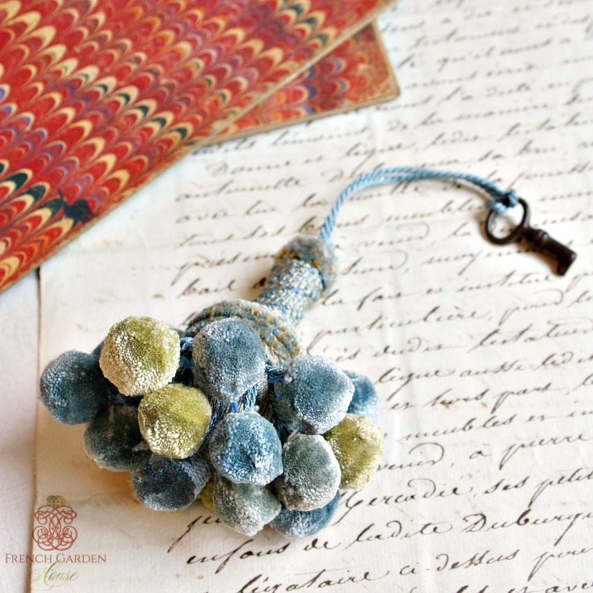 Parisian Atelier Blue and Green Tassel with Antique Key