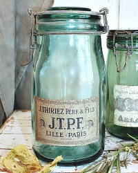 Vintage French Green Glass Storage Jar Thiriez