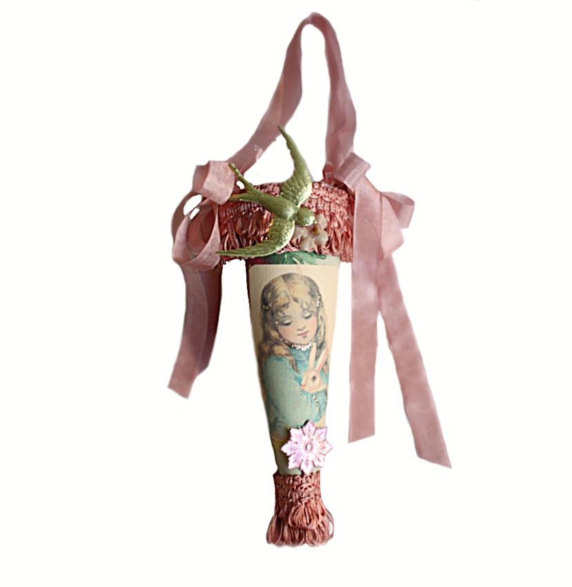 Parisian Atelier Tussie Mussie Cone Candy Container Spring Rabbit