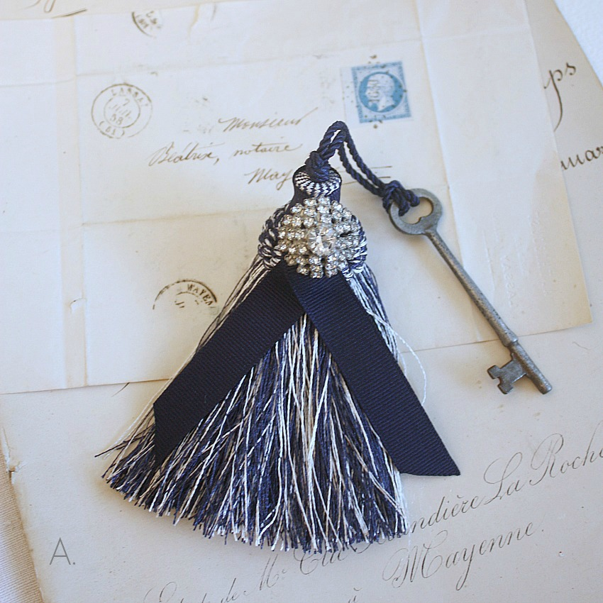 Parisian Atelier Blue Ribboned Tassel with Antique French Key