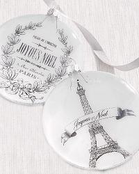 Parisian Holiday Joyeux Noel et Eiffel Ornament Set