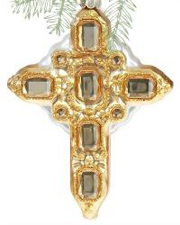 Parisian Holiday Jeweled Cross Ornament