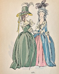 Antique French Hand Colored Fashion Print 1783
