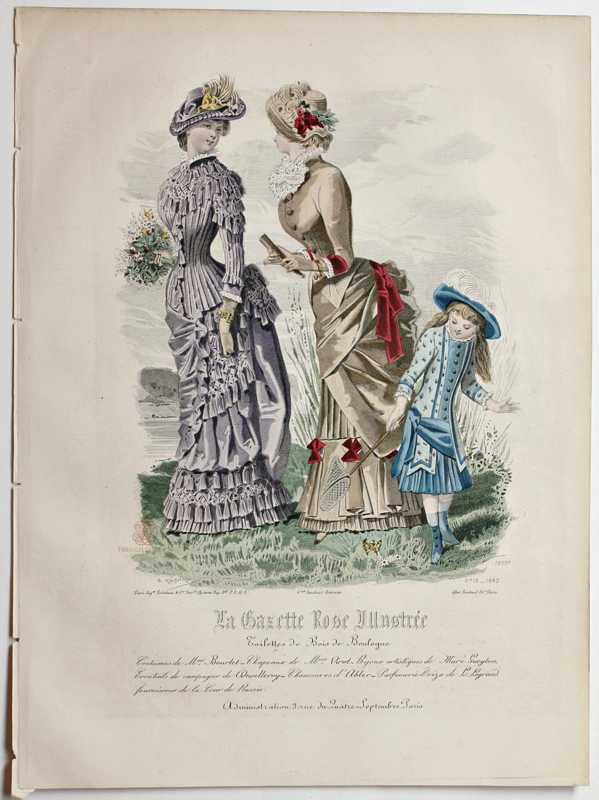 Antique French Hand Colored Fashion Print Lithograph Butterflies