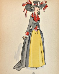 Antique French Hand Colored Fashion Print 1787