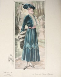 Antique French Hand Colored Fashion Print Creation Laferriere